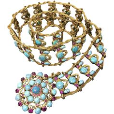 Yves Saint Laurent Couture Metal Belt with Faux Turquoise Cabochons. Museum Quality. 1970's.  -- found at www.rubylane.com #vintagebeginshere #giftforher