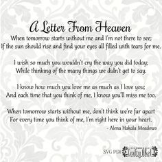 Heaven Poems, Heaven Quotes, Quotes About Heaven, Grief Poems, Quotes About Grief, Mom Poems, Poems About Mothers, Mourning Quotes, Letter From Heaven