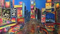 new york city, times square , silk 71x42
