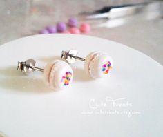 Birthday Cake Macaron earrings  (hypoallergenic surgical steel)