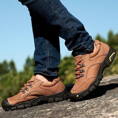 Men's Genuine Leather Soft Wear Resisitant Outdoor Casual Shoes