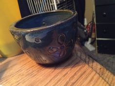 First little bowl:) copper oxide and floating blue glaze:)