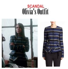 """On the Blog: Olivia Pope's (Kerry Washington) blue and gray striped peplum jacket   Scandal (Ep. 416) - """"It's Good to be Kink"""" #tvstyle #tvfashion #outfits #TGIT #gladiators #fashion Scandal Fashion, Fashion Tv, Fashion Outfits, Womens Fashion, Olivia Pope, Kerry Washington, Peplum Jacket, Proenza Schouler, Grey Stripes"""