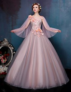 Princess Wedding Dress Wedding Dresses in Color Court Train Bateau Lace / Tulle with Appliques / Beading / Crystal / Flower / Lace / Pearl – USD $ 199.99