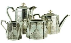 lavishshoestring.com/19th Century Silver Plated Tea & Coffee Set English Aesthetic Movement