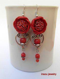 Red earrings  Red flowers  Peony  Flower jewelry  by insoujewelry