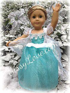 "Elsa's Dress in Frozen Clothes for 18"" American Girl Doll Tutu Dress Elsa"