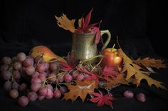 https://flic.kr/p/doXuSk | autumn colours - a still life study with X-Pro1 | Light: Natural light from the window. Camera: Fujifilm X-Pro 1 Lens: MC Rokkor-PG, 58mm f/1.2 Other: tripod, cable release Camera settings: Fine jpeg, Film Simulation Ns, ISO L100, DR Auto PP: CS6