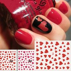 2 Sheets cute Heart Design 3D Nail Art Stickers Decals Manicure Decoration
