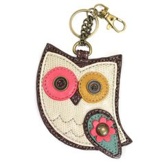 "Chala Hoohoo Owl - Key Fob / Coin Purse  Conveniently small, fun and functional. Hold your keys with style!   Hoohoo Owl with detailed stitching and metal button eyes Zippered coin pocket Textured faux leather trim Features antique brass toned hardware Patterned fabric lining Materials used: Synthetic leather Color: White/brown Approx. Measurements: 3.5"" x 0.25"" x 5.25""  Designed in California USA Made in China Colors may not be exactly as pictured. Lining patterns may vary."