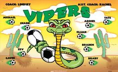 Vipers B55093  digitally printed vinyl soccer sports team banner. Made in the USA and shipped fast by BannersUSA.  You can easily create a similar banner using our Live Designer where you can manipulate ALL of the elements of ANY template.  You can change colors, add/change/remove text and graphics and resize the elements of your design, making it completely your own creation.