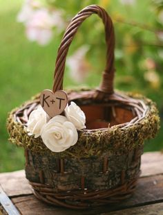Personalized Flower Girl Basket Woodland Rustic Birch Bark Outdoor Fall WInter Roses CHIC #DBBridalStyle