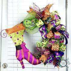 Halloween Deco Mesh Wreath - Funky Bow Wreath - Grapevine Wreath - If The Shoe Fits - Halloween Decor - Door Decor by WreathsEtcbyLisa on Etsy