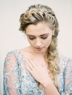 the prettiest crown braid and blue beaded gown
