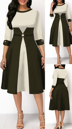 High Waist Color Block Three Quarter Sleeve Dress HOT SALES beautiful dresses, pretty dresses, holiday fashion, dresses outfits, dress… in 2020 Latest African Fashion Dresses, African Print Fashion, Women's Fashion Dresses, Women's Dresses, Cute Dresses, Beautiful Dresses, Dress Outfits, Dresses With Sleeves, Cheap Dresses