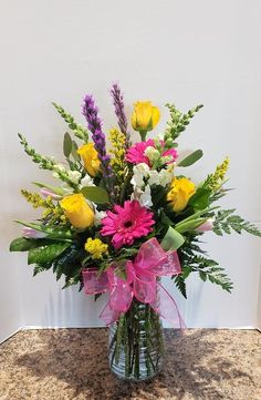 We have been providing SAME-DAY flower delivery in Burlington, IA since Our arrangements are florist designed & we offer a satisfaction guaranteed! Spring Flower Arrangements, Vase Arrangements, Floral Centerpieces, Spring Flowers, Cemetery Flowers, Floral Backdrop, Same Day Flower Delivery, Funeral Flowers, Floral Bouquets