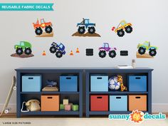 Monster Trucks Fabric Wall Decals, Set of 7, Available in 3 Sizes