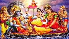 Lord Vishnu with Goddess Lakshmi resting on Ananta floating in the cosmic Ocean