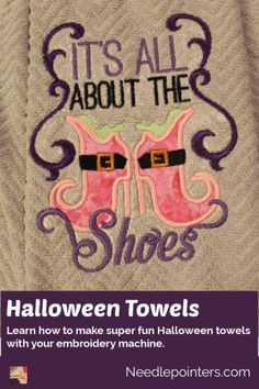 Make some fun machine embroidered Halloween towels. These make great gifts or holiday towels. Two towels can be made from one purchased towel which makes it a great value! Diy Kitchen Projects, Fun Projects, Machine Embroidery Projects, Hanging Towels, Types Of Craft, Embroidery For Beginners, Fall Crafts, Halloween Fun, Fabric Crafts