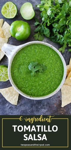 Take your Mexican food to the next level with an easy blender salsa! You are going to love this recipe for a flavorful Tomatillo Salsa. With just 6 ingredients, you can have the perfect match for tortilla chips, tacos, burritos, enchiladas, quesadillas, and more!