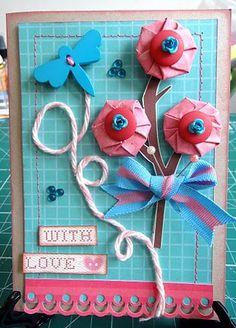 Cartão e Flores de Papel