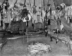 Interior of a Pikuni Blackfeet lodge in Montana - 1909