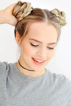 Space Buns ★ Medium length hair styles are numerous, and picking one seems a tough job. But mastering your hair will give you many advantages. Consider the options! Easy Updos For Medium Hair, Medium Hair Styles, Long Hair Styles, Twisted Updo, Braided Updo, Undercut Hairstyles, Braided Hairstyles, Short Hairstyles, Short Hair Bun