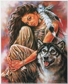 Amazon.com: Indian Maiden and Wolf Native American Art Print ...
