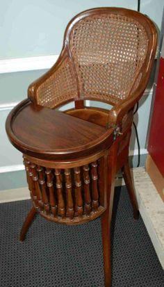 G BRS Horrix.Ce's Gravenhage Antique High Chair Antique High Chairs, Warm Food, Slow Food, Cold Meals, Antique Furniture, Vintage Toys, Vintage Antiques, Wicker, Art Nouveau