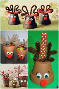 DIY Clay Pot Reindeer Instruction - DIY Terra Cotta Clay Pot Christmas Craft Ideas