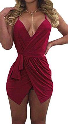 766c9871fa7 Cromoncent Womens Clubwear Spaghetti Strap Deep V-Neck Backless Jumpsuit  Romper Romper Dress
