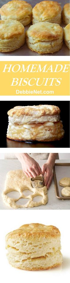 The perfect homemade biscuits! Light and flaky, delicious slathered with butter or honey! | DebbieNet.com