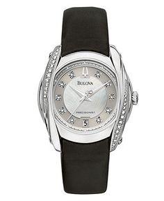Bulova Watch, Women's Precisionist Black Leather Strap 96R140 - Women's Watches - Jewelry & Watches - Macy's