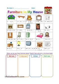 """this worksheet goes with """"FURNITURE-pictionary"""" - ESL worksheets"""