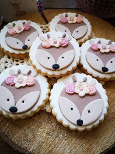 Girl's Baptism | Deer Theme First Birthday Cupcakes, 1st Birthday Girls, First Birthday Parties, First Birthdays, Fiesta Baby Shower, Baby Shower Fall, Baby Shower Cakes, Fondant Cupcake Toppers, Cupcake Cookies
