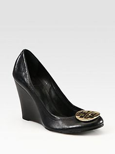 7cf7dcf2228c Tory Burch - Sophie Leather Logo Wedge Pumps