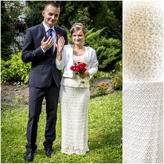 Crochet bridal set (skirt + shirt) adorned with pearls.