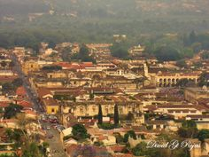Cathedral and Central Park of Antigua Guatemala, seen from the Cerro de la Cruz.   Photo taken by  David Gt Rojas
