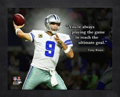NFL Dallas Cowboys Tony Romo Framed Photo for sale online Nfl Quotes, Tony Romo Jessica Simpson, Tony Romo Memes, Jason Witten, Love Photos, Dallas Cowboys, Nfl Pro, Football Helmets, Goals