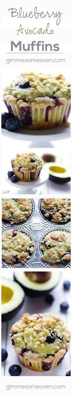 Blueberry Avocado Muffins via gimmesomeoven// #avocado #muffins #blueberry