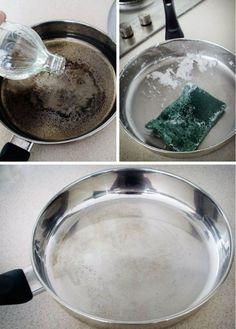 Lava una sartén quemada Llena el fondo de la sartén con agua, agrega una taza de vinagre y lleva a ebullicion. Retira del fuego, agrega el bicarbonato de sodio. Cuando la mezcla deje de burbujear, retira el agua. Si la mugre persiste, con cuidado frota la superficie con bicarbonato.