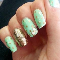 Mint, polka-dot and bow nails