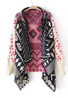 Rose-Carmine Striped Irregular Long Sleeve Knit Cardigan