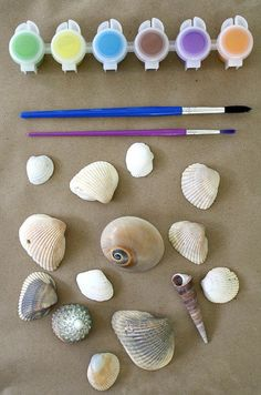 Seashell painting would be a great activity for a mermaid birthday party! #MermaidParty #MermaidBirthdayParty #MermaidThemedActivities