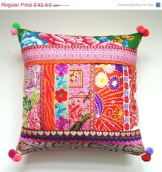 Ethnic Retro Patchwork Cushion / Pillow Cover by madebylisajane Cushion Covers, Pillow Covers, Cushion Pillow, Quilt Pillow, Down Pillows, Throw Pillows, Memory Pillows, Patchwork Cushion, Ideas Para Organizar