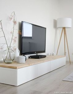 Long TV bench with wooden top                                                                                                                                                                                 More