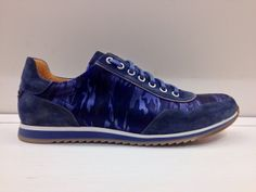 Blue suede and nylon camouflage high-end trainers from Magnanni.