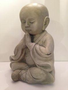"Meditating Buddist Monk Baby Buddha Clay Fiber Stone Garden Statue 14"" | eBay"