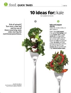 10 Ideas For: Kale 2 ~ Kale and pepper stir-fry.  Real Simple magazine ~ October 2012.