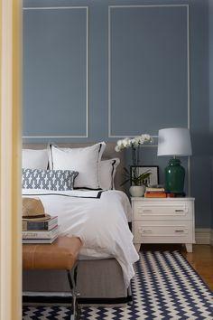 Black beige and Blue Bedroom | master-bedroom-blue-walls-tan-leather-stool-custom-black-white-linen ...